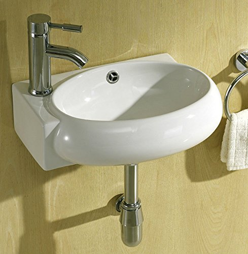 Small Compact Cloakroom Basin Bathroom Sink Round Offset Square Rectangle Corner Left Hand Wall Hung 430 X 280