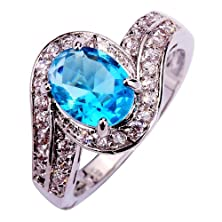 buy Yazilind Women'S Ring With 2.1Ct Oval Cut Big Stone Blue White Cubic Zirconia Cz Ring Size 8