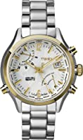 Timex Intelligent Quartz Men's Watch with White Dial Analogue Display and Silver Stainless Steel Bracelet T2N945AU