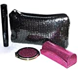 GIFT SET - 3 HANDBAG ESSENTIALS, SUPERMAGNIFY BLACK MASCARA ,PINK GLITTER LIPSTICK CASE WITH MIRROR & EVENING BAG