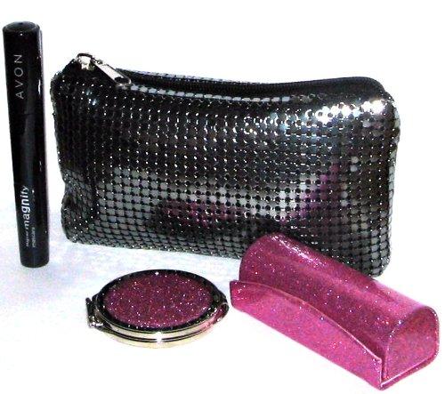 GIFT SET - 3 HANDBAG ESSENTIALS, SUPERMAGNIFY BLACK MASCARA ,PINK GLITTER LIPSTICK CASE WITH MIRROR & EVENING BAG