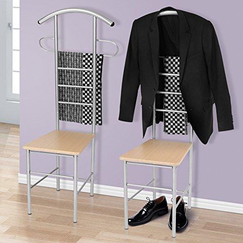 Miadomodo - Valet de chambre métallique - chaise valet de nuit - 52 x 47 x 120 cm - vendu séparément ou en set de 2
