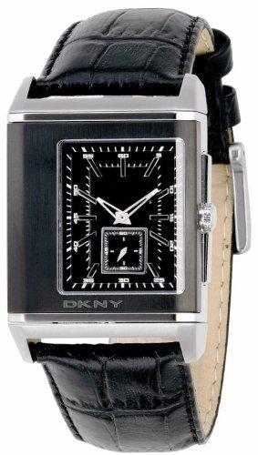 DKNY NY1374 Gents Black Dial, Black Leather Strap Watch
