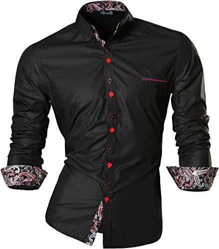 jeansian Uomo Camicie Maniche Lunghe Moda Men Shirts Slim Fit Casual Long Sleves Fashion Z027 Black M