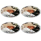 MSD Round Coasters 4 Pack Cracked concrete vintage brick wall with lichen Natural Rubber base IMAGE 21743894
