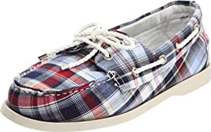 Sebago Women's Seashore Two-Eye Boat Shoe, Blue/Red, 5.5 M US