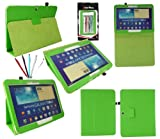Emartbuy® Samsung Galaxy Tab 3 10.1 Tablet ( P5200 / P5210 ) Bundle of 5 Dual Function Stylus + Green PU Leather Multifunctional / Multi Angle Wallet / Cover / Stand / Typing Case