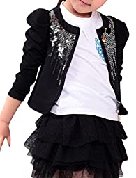 Girls Long Puff Sleeve Zip Closure Sequined Front Spring Coat Black 7