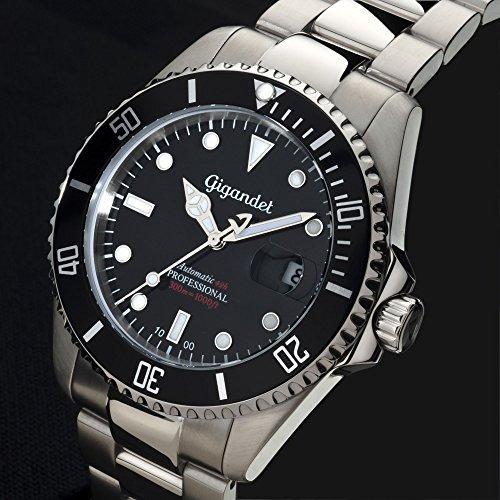 Gigandet Automatik Herren-Armbanduhr Sea Ground Taucheruhr Uhr Datum Analog Edelstahlarmband Schwarz Silber G2-002 4