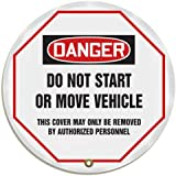 "Accuform Signs KDD822 STOPOUT Vinyl Steering Wheel Message Cover, OSHA-Style Legend ""DANGER DO NOT START OR MOVE VEHICLE - THIS COVER MAY ONLY BE REMOVED BY AUTHORIZED PERSONNEL"", 20"" Diameter, Red/Black on White"