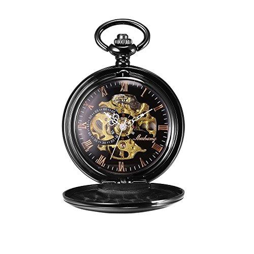 Besseron meccanica, stile Steampunk, numeri romani, nero-Orologio da taschino, colore: nero