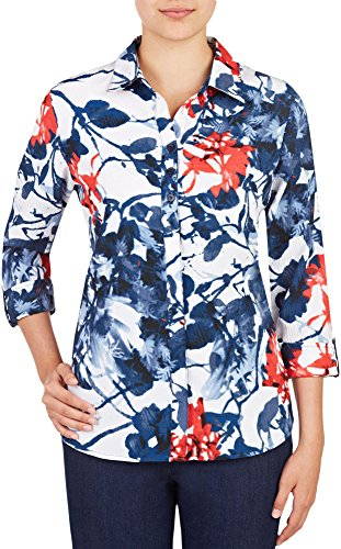 Alia Womens Floral Button Front Woven Top 8 White/blue/red (Alia Clothing compare prices)