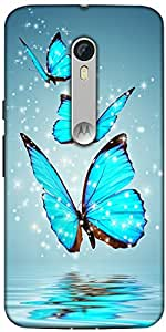 Snoogg Blue Butterfly Digital Designer Protective Back Case Cover For Motorola Moto X Style