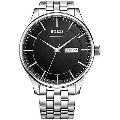 BUREI Men's Day and Date Calendar Quartz Watch Wristwatch with Black Dial Stainless Steel Bracelet