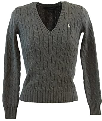Ralph Lauren Sport Womens Cable Knit V-Neck Polo Pony Logo Sweater - S - Gray