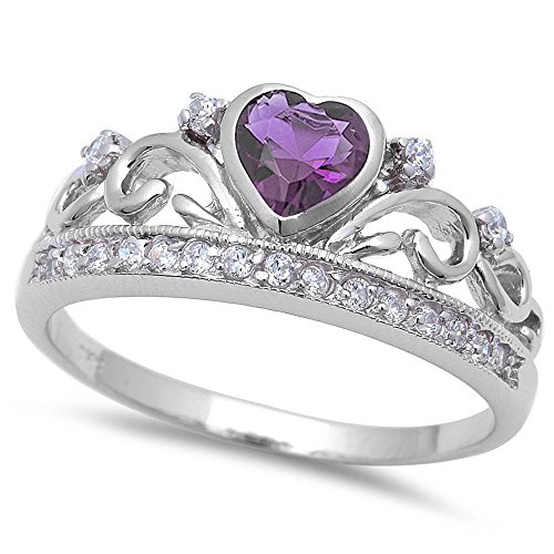 Simulated Amethyst & Cz Crown .925 Sterling Silver Ring Size 8