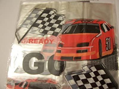 Cello Loot Bags and Ties ~ 25 Count (Red Race Cars and Checkered Flags)