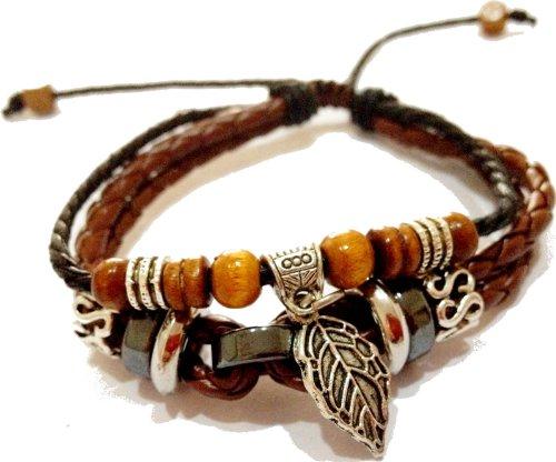 Retro PU leather men bracelet with silver parts men's accessories TB-3