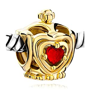 Pugster Golden Crown July Birthstone Red Crystal Heart European Lover Bead Fits Pandora Charm Bracelet