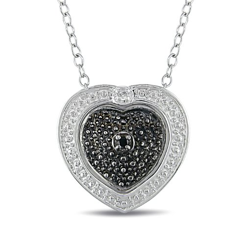 Sterling Silver 0.01 CT TDW Black and White Diamond With Chain (G-H, I3)