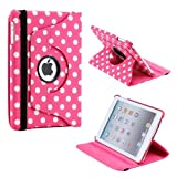 Gearonic TM Pink/White Polka Dot 360 Degree Rotating Stand Smart Cover PU Leather Swivel Case For Apple IPad Mini...