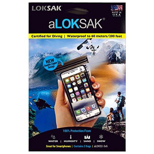 LOKSAK(ロックサック)万能防水・防塵ケース スマートフォンケース向け(2枚入)ダブルジッパーデザイン