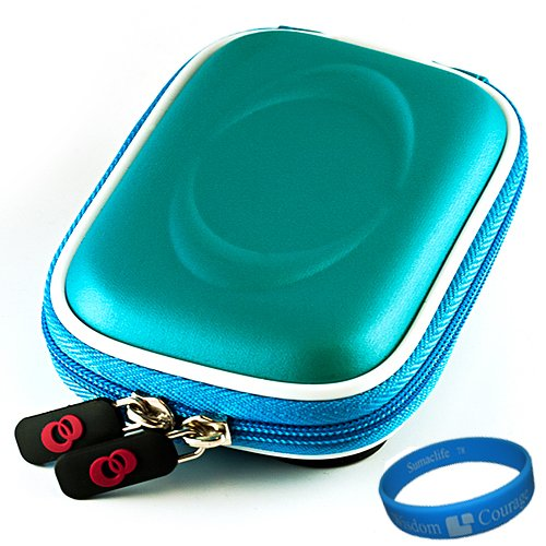Camera Case for Sony Cybershot DSC-T DSC-W Series (Light Blue) + Universal LCD Screen Protector Kit + Includes SumacLife Wisdom Courage Wristband