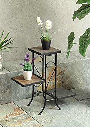 4D Concepts 3-Tier Plant Stand with Slate Top, Metal/ Slate