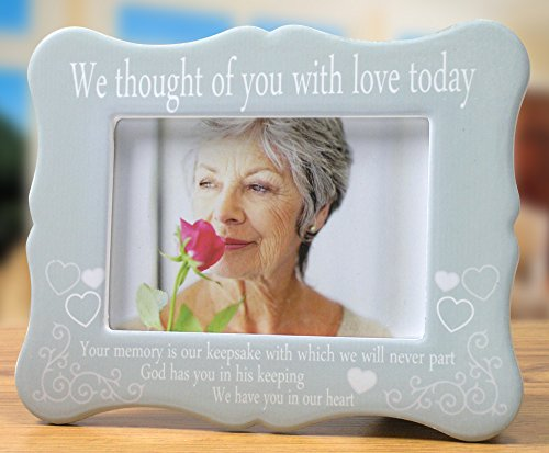 Memorial Frame - We Thought of You with Love Today - Ceramic Plaque with Memorial Poem - Bereavement Gift - Sympathy - Condolence - in Loving Memory