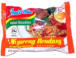 Indomie Instant Fried Noodles Spicy Beef Rendang Flavor For 1 Case 30 Bags by Indomie