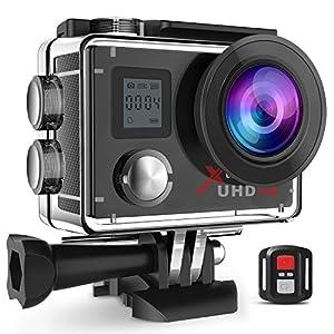 Campark ウェアラブルカメラ【メーカー直販/1年保証付】4K/30fps アクションカム1600万画素/2インチ画面/170度広角レンズ/2.4Gリモコン/WIFI機能/二つバッテリーとたくさん付属品