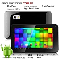 ProntoTec 7 Inch Capacitive Touch Screen Tablet Pc, Allwinner A20 Cortex A8 Dual Core 1.5 Ghz, Android 4.1, 4gb Nand Flash, Ddr3 512mb Ram, Dual Cameras, Wi-fi, G-sensor (Black) from ProntoTec