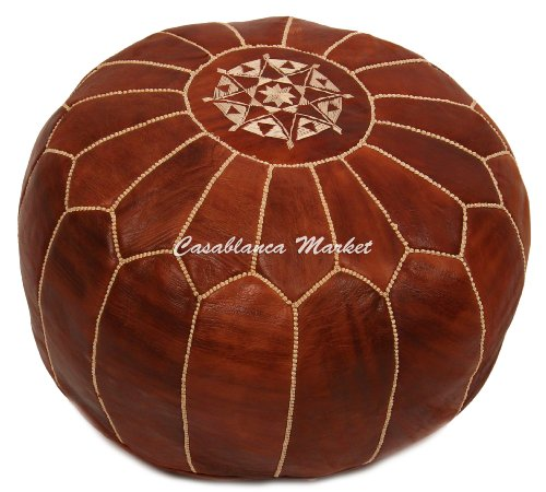 Embroidered Leather Pouf / Ottoman, Chestnut (Stuffed)