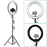 Neewer® Photo Video Ring Fluorescent Flash Light Kit, includes(1)18inch Outer 14inch Inner 75W 5500K Ring Light+(1)75inch/190cm Light Stand+(1)Mini Ball Head and Hot Shoe Adapter Camera Cradle