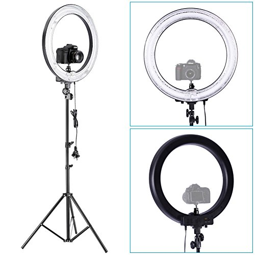 Neewer-Dimmable-Photography-Ring-Fluorescent-Flash-Light-Kitincludes118Outer-14Inner-75W-5500K-Dimmable-Ring-Light175190cm-Light-Stand1Mini-Ball-HeadHot-Shoe-Adapter-Camera-Cradle