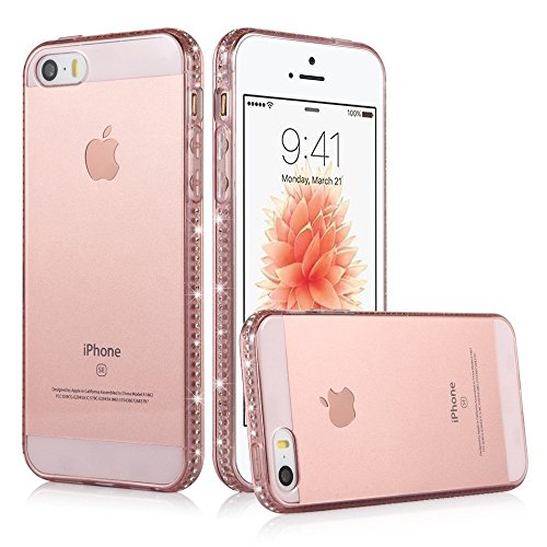 iPhone SE Case, Sincase Cute Soft Flexible TPU SE/5S Clear 3D Bling Rhinestone Anti-Scratch Protective Cover Bumper with Liquid Glitter Crystal Frame Slim for Apple iPhone SE/5S/5 (Rose Gold ) (Cute Iphone 5s Bumper Cases compare prices)