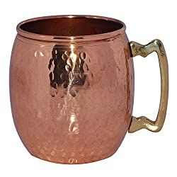 Prisha India Pure Copper Moscow Mule Mug Hammered Dutch Style