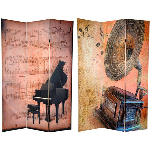 Oriental Furniture Six Ft. Tall Double Sided Music Room Divider - Piano/Phonograph, Width - 48 Inches front-447551
