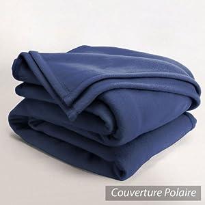 Couverture polaire 220x240cmIsba, Marine - 100% Polyester 340 g/m2, traité non-feu