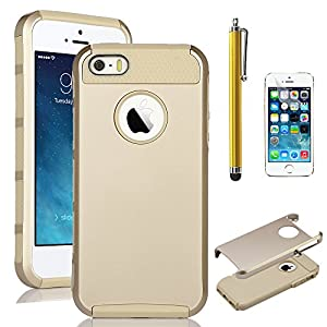 iPhone 5S Case, Pandamimi ULAK(TM) Fashion Sweety Girls TPU + PC 2-Piece Style Soft Hard Case Cover for Apple iPhone 5S 5 5G with Screen Protector and Stylus (Champagne Gold+Champagne Gold)