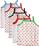 MYFAA Baby Girls' Cotton Regular Fit Vest - Combo of 5 (Multi-Coloured, 3-6 Months)