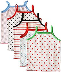 MYFAA Baby Girls' Cotton Regular Fit Vest - Combo of 5 (Multi-Coloured, 9-12 Months)