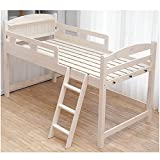 木製ロフトベッド シングル 棚コンセント2口付 ベッド下の空間を有効活/ホワイトウォッシュ