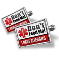 "Neonblond Cufflinks Medical Alert Red ""I have Allergys"" - cuff links for man from NEONBLOND Jewelry & Accessories"
