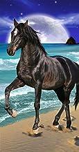 Black Horse amp Moon Terry Velour BeachBath Towel