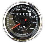 ナイトドライブに輝きを放つ LED バックライト 付き バイク用 スピードメーター 機械式 汎用 12V