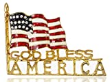 Golden Tone God Bless America Flag Rhinestone Brooch Pin -- American Patriotic Costume Jewelry