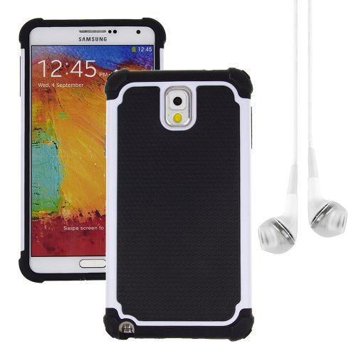 Hybrid Dual Layer Armor Defender Protective Case Cover For Samsung Galaxy Note 3 (At&T Verizon Sprint T-Mobile) + Vangoddy White Headphone (White)