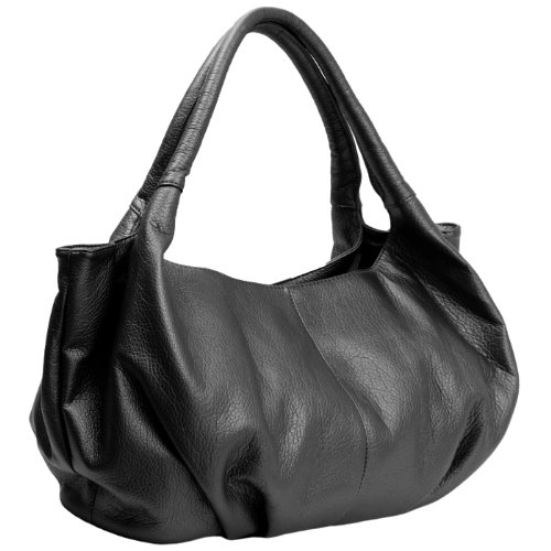 MG Collection Yelena Everyday Top Double Handle Satchel Style Hobo, Black, One Size