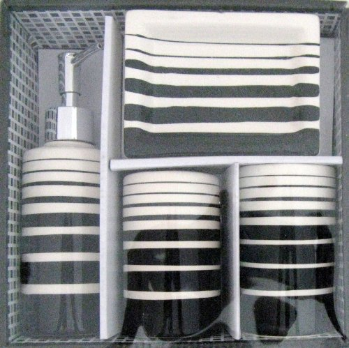 BLACK & WHITE Geometric Striped Ceramic Bathroom Bath Accessory Accessories Set, 4 Piece Set